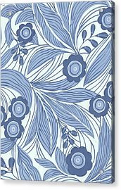 Pattern With Blue Leaves, Flowers Acrylic Print by Gillham Studios