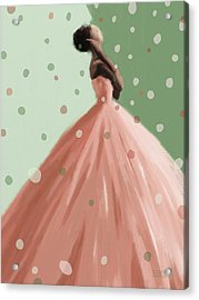 Peach And Mint Green Fashion Art Acrylic Print by Beverly Brown Prints