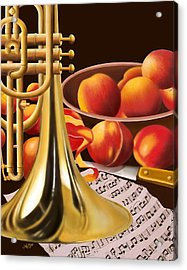 Peaches And Horn Acrylic Print by James  Mingo
