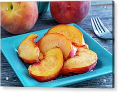 Peaches For Lunch Acrylic Print by Teri Virbickis