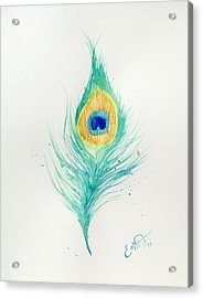 Peacock Feather 2 Acrylic Print by Oddball Art Co by Lizzy Love