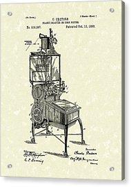 Peanut Roaster Or Corn Popper 1893 Patent Art Acrylic Print by Prior Art Design