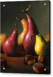 Pears With Chestnuts Acrylic Print by Robert Papp