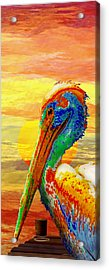 Pelicans Wharf Tequila Sunset Acrylic Print by Wally Boggus