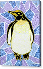 Penguin On Stained Glass Acrylic Print by Pat Scott