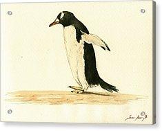 Penguin Walking Acrylic Print by Juan  Bosco