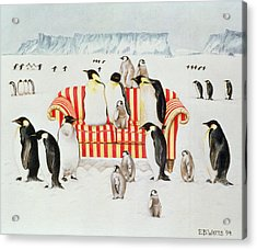 Penguins On A Red And White Sofa  Acrylic Print by EB Watts