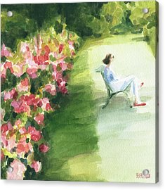 Peonies And Red Shoes Parc De Bagatelle Acrylic Print by Beverly Brown Prints