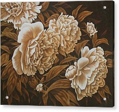 Peonies In Sepia Acrylic Print by Karen Coombes