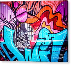 People Talk About Graffiti Acrylic Print by Sonja Quintero