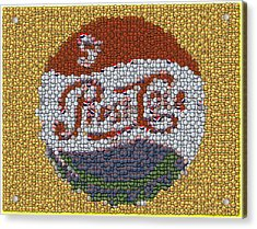 Pepsi Bottle Cap Mosaic Acrylic Print by Paul Van Scott