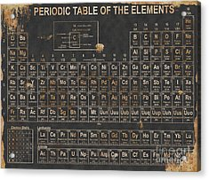 Periodic Table Grunge Style Acrylic Print by Christopher Williams