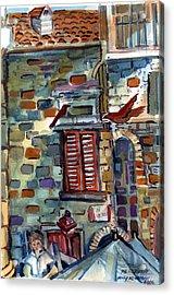 Perugia Street Cornor Acrylic Print by Mindy Newman