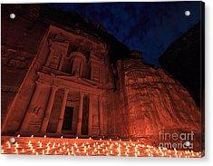 Petra By Night Acrylic Print by Fabio Nodari