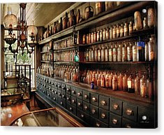 Pharmacy - So Many Drawers And Bottles Acrylic Print by Mike Savad