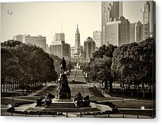 Philadelphia Benjamin Franklin Parkway In Sepia Acrylic Print by Bill Cannon