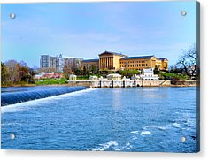 Philadelphia Museum Of Art And The Philadelphia Waterworks Acrylic Print by Bill Cannon