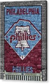 Philadelphia Phillies Brick Wall Acrylic Print by Joe Hamilton