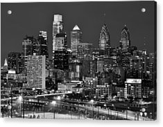 Philadelphia Skyline At Night Black And White Bw  Acrylic Print by Jon Holiday