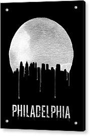 Philadelphia Skyline Black Acrylic Print by Naxart Studio