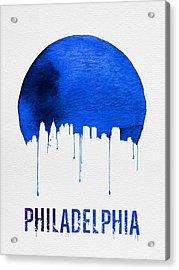Philadelphia Skyline Blue Acrylic Print by Naxart Studio