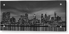 Philadelphia Skyline Panorama Bw Acrylic Print by Susan Candelario
