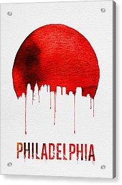 Philadelphia Skyline Redskyline Red Acrylic Print by Naxart Studio
