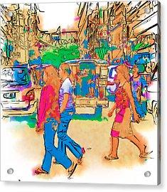 Philippine Girls Crossing Street Acrylic Print by Rolf Bertram
