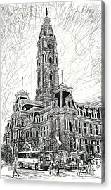 Philly City Hall Acrylic Print by Michael  Volpicelli