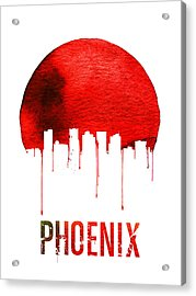 Phoenix Skyline Red Acrylic Print by Naxart Studio