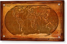 Physical Map Of The World Antique Style Acrylic Print by Theodora Brown