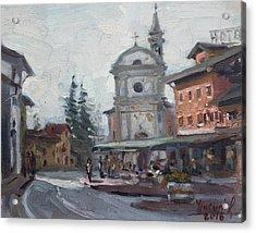 Piazza Di Limana Acrylic Print by Ylli Haruni
