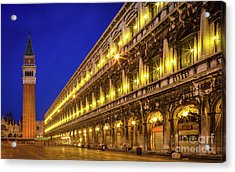 Piazza San Marco By Night Acrylic Print by Inge Johnsson