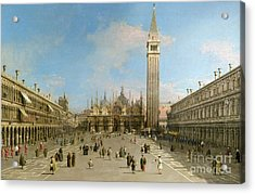 Piazza San Marco Looking Towards The Basilica Di San Marco  Acrylic Print by Canaletto
