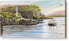 Picnic On The Lake Acrylic Print by Vanda Luddy