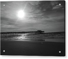 Pier At Myrtle Beach In Black And White Acrylic Print by Kelly Hazel