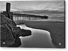 Pier Reflections Acrylic Print by Ginny Horton