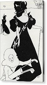 Pierrot As Caddie Acrylic Print by Aubrey Beardsley