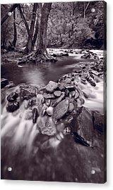 Pigeon Forge River Great Smoky Mountains Bw Acrylic Print by Steve Gadomski