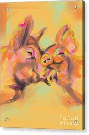 Piggy Love Acrylic Print by Go Van Kampen