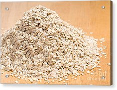 Pile Of Dried Rolled Oat Flakes Spilled  Acrylic Print by Arletta Cwalina