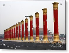 Pillars At Tiananmen Square Acrylic Print by Carol Groenen