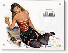 Pin Up Celebrating New Year With Champagne Acrylic Print by American School