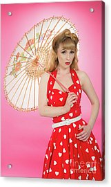 Pin Up Girl With Parasol Acrylic Print by Amanda And Christopher Elwell