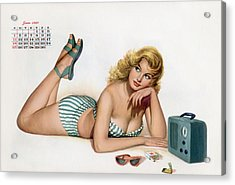 Pin Up Listening To Radio Acrylic Print by American School