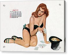 Pin Up Playing Cards Acrylic Print by American School