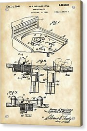 Pinball Machine Patent 1939 - Vintage Acrylic Print by Stephen Younts