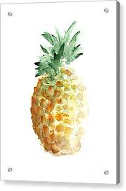 Pineapple Watercolor Minimalist Painting Acrylic Print by Joanna Szmerdt