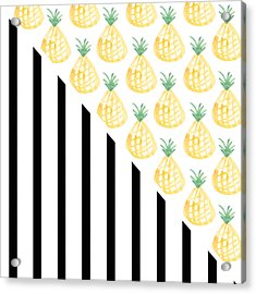 Pineapples And Stripes Acrylic Print by Linda Woods