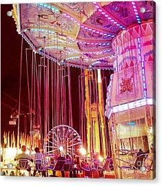 Pink Carnival Festival Ferris Wheel Night Ride Acrylic Print by Kathy Fornal
